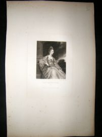 After Joshua Reynolds C1830 Folio Mezzotint. Lady Harriot Acland, Pretty Lady